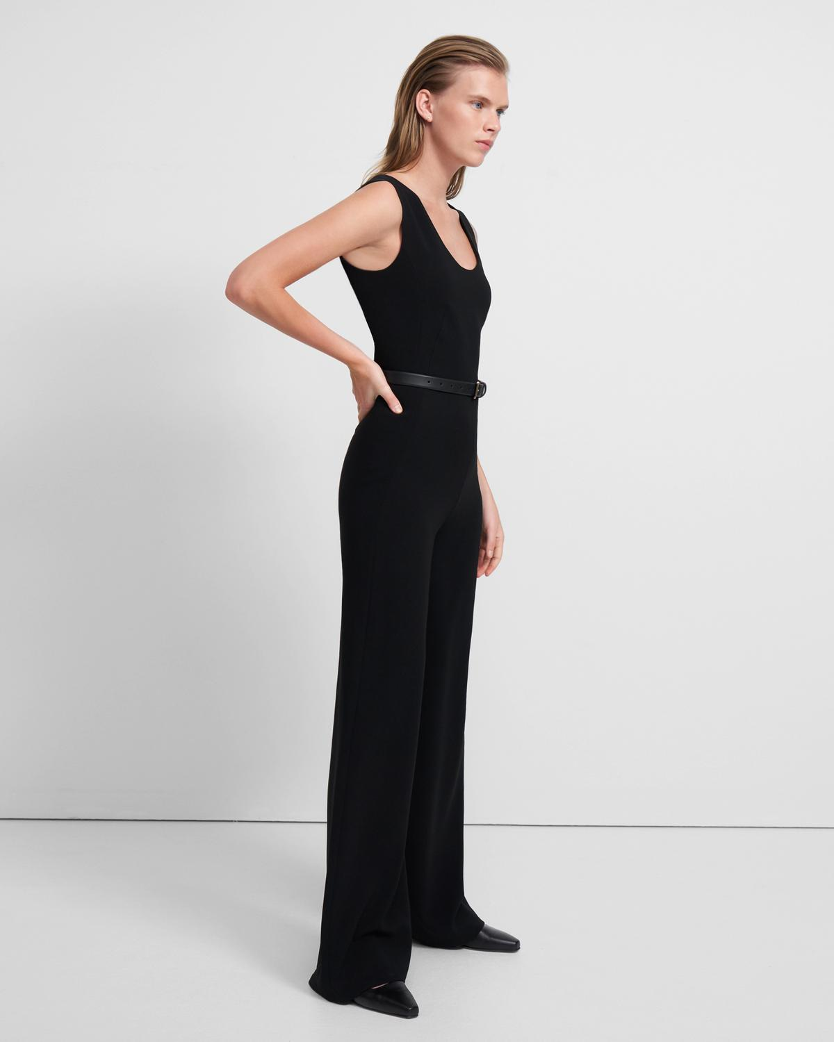 Seamed Jumpsuit in Crepe