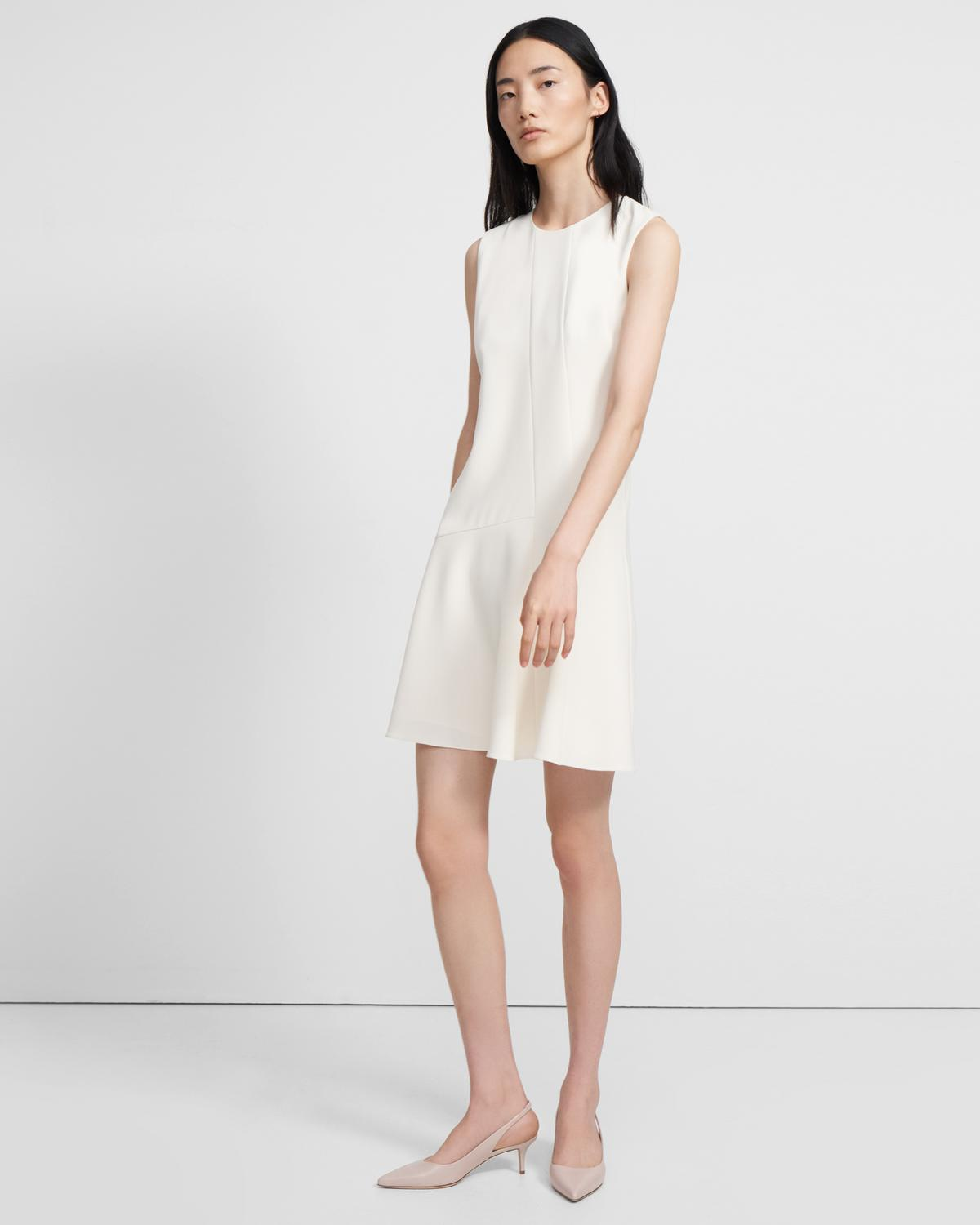 Asymmetric Drape Dress in Crepe