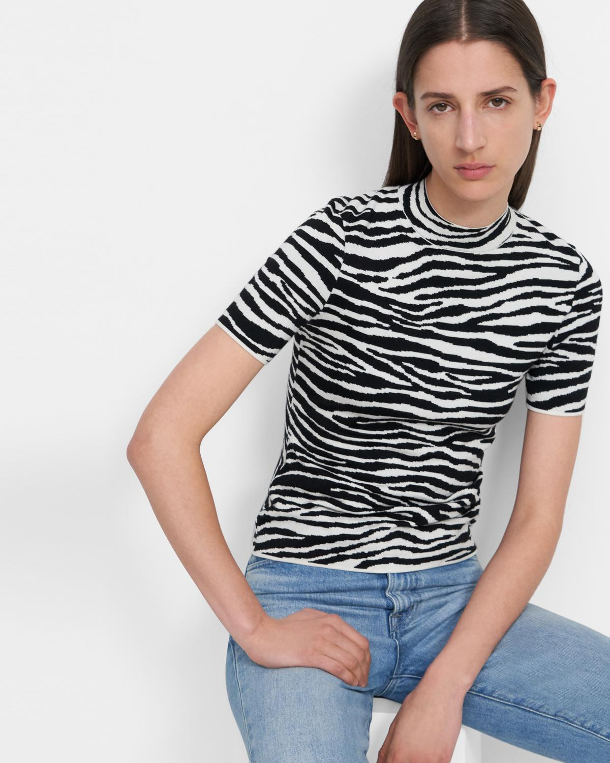Mock Neck Sweater Tee in Zebra Knit