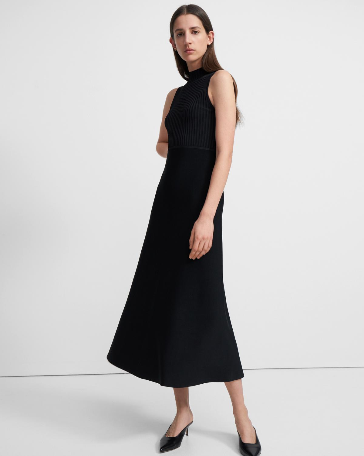 Mock Neck Dress in Ribbed Knit