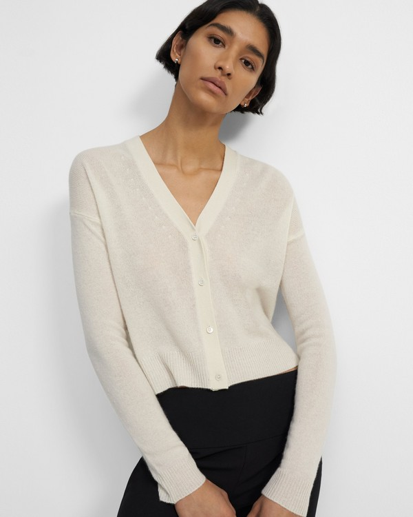 Cropped Cardigan in Feather Cashmere