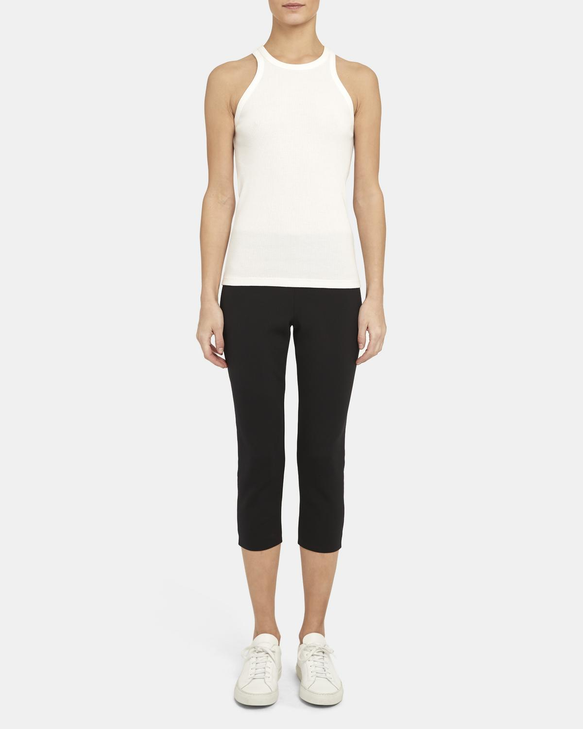 Racerback Tank Top in Ribbed Cotton-Modal