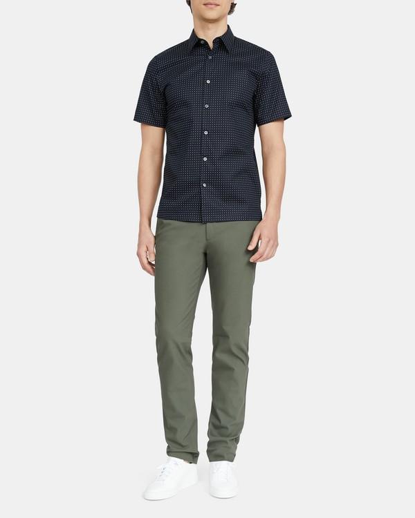 띠어리 맨 셔츠 Theory Irving Short-Sleeve Shirt in Sphere Print Stretch Cotton,ECLIPSE MULTI