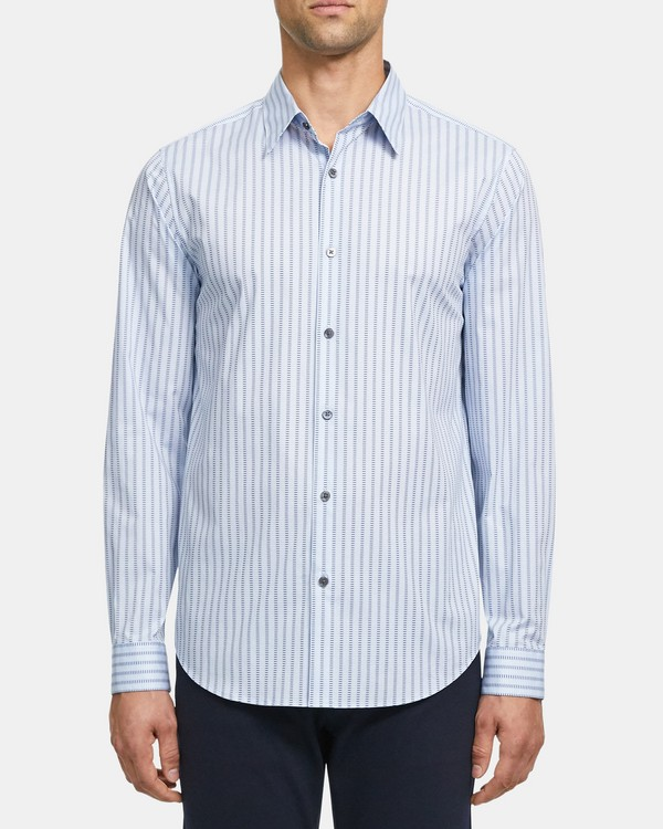 Standard-Fit Shirt in Dashed Print Cotton