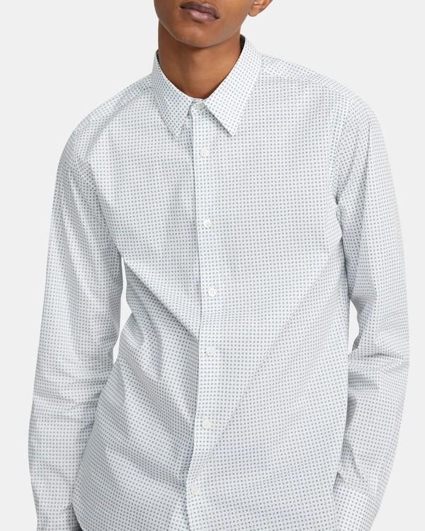 띠어리 맨 어빙 셔츠 Theory Irving Shirt in Geo Print Stretch Cotton