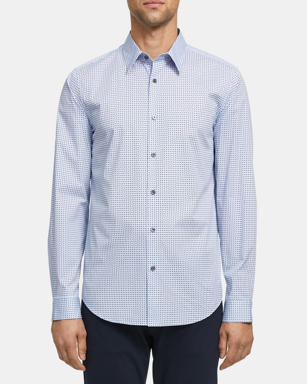 Irving Shirt in Geo Print Stretch Cotton