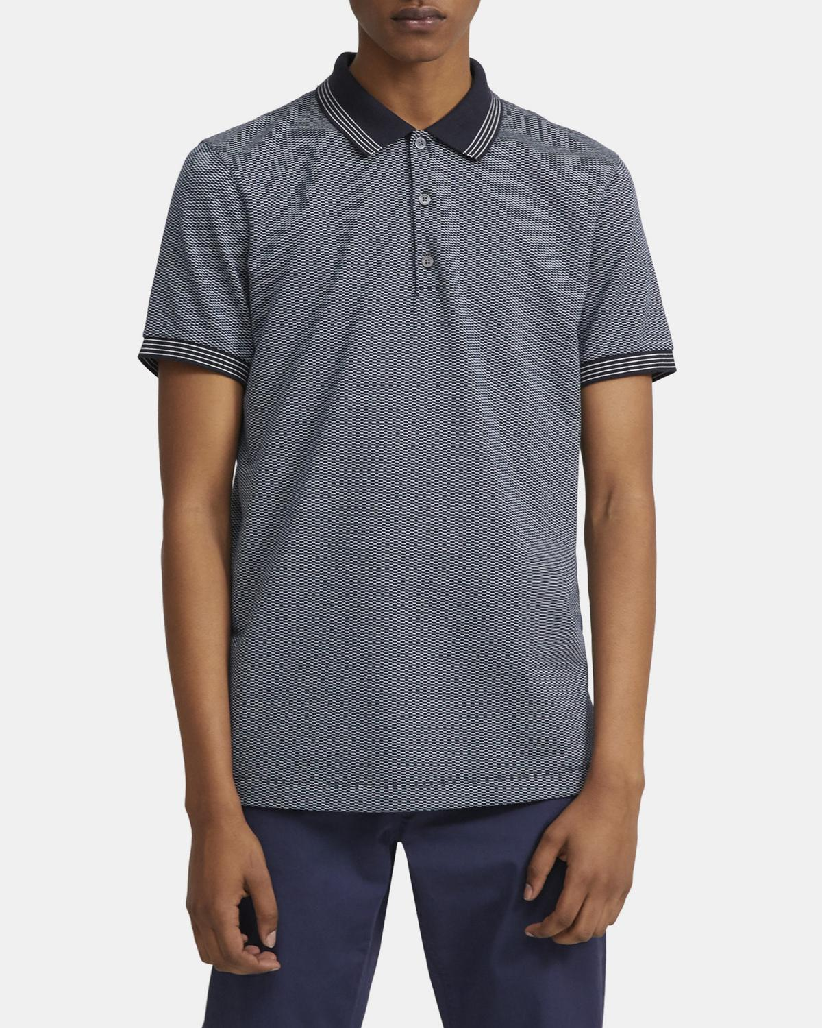 Polo Shirt in Geometric Knit