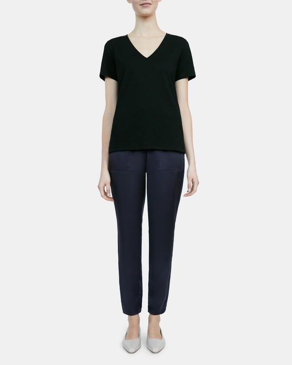 띠어리 브이넥 티셔츠 Theory V-Neck Tee in Slubbed Modal Jersey,BLACK