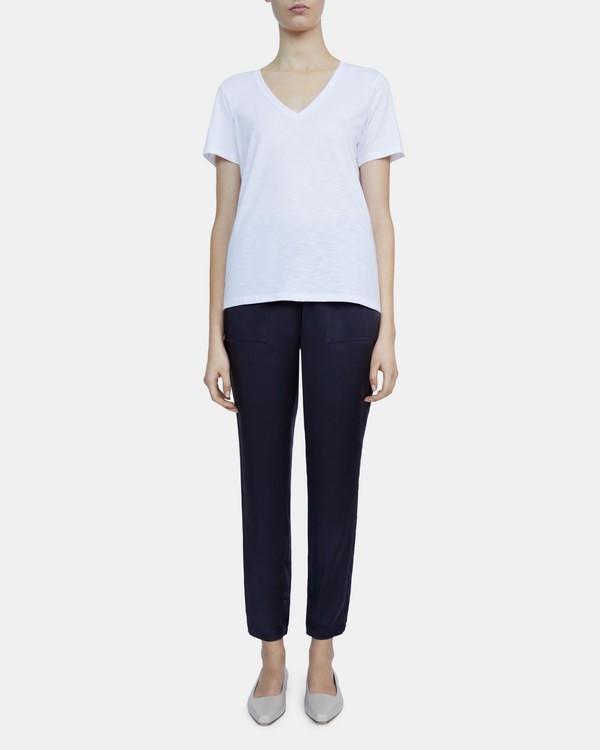 띠어리 브이넥 티셔츠 Theory V-Neck Tee in Slubbed Modal Jersey,WHITE