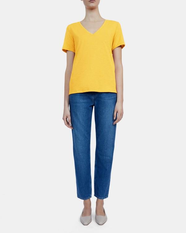 띠어리 브이넥 티셔츠 Theory V-Neck Tee in Slubbed Modal Jersey,MARIGOLD