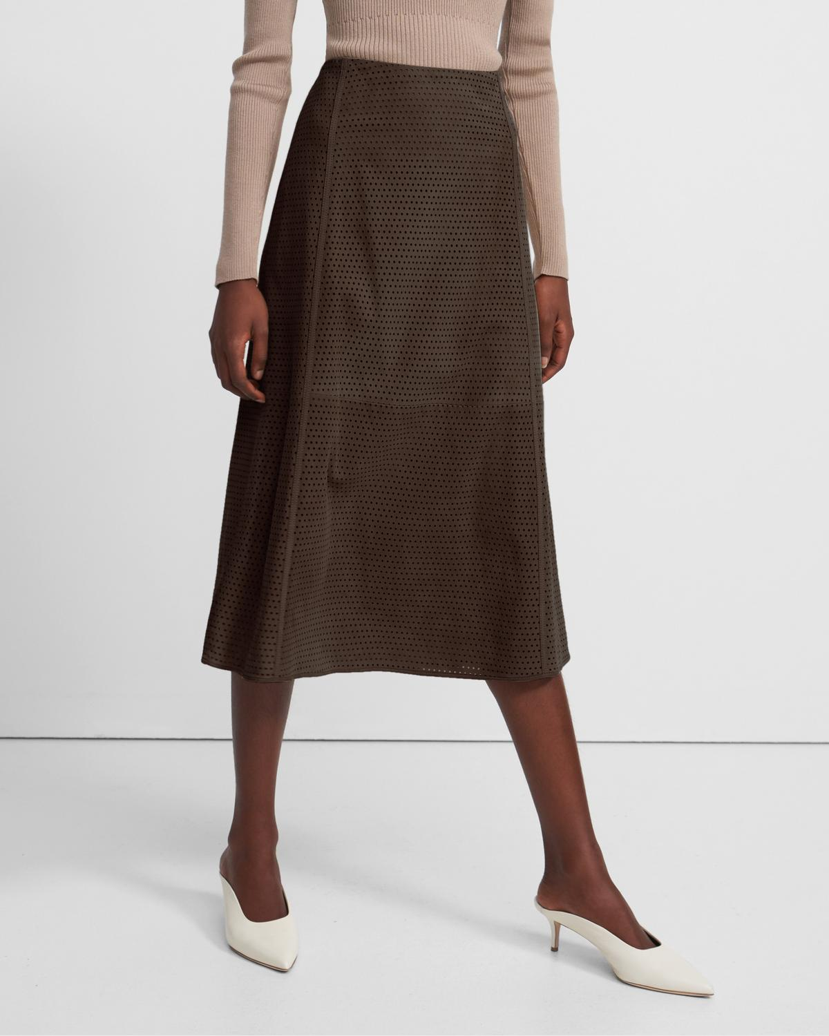 Seamed Midi Skirt in Perforated Suede