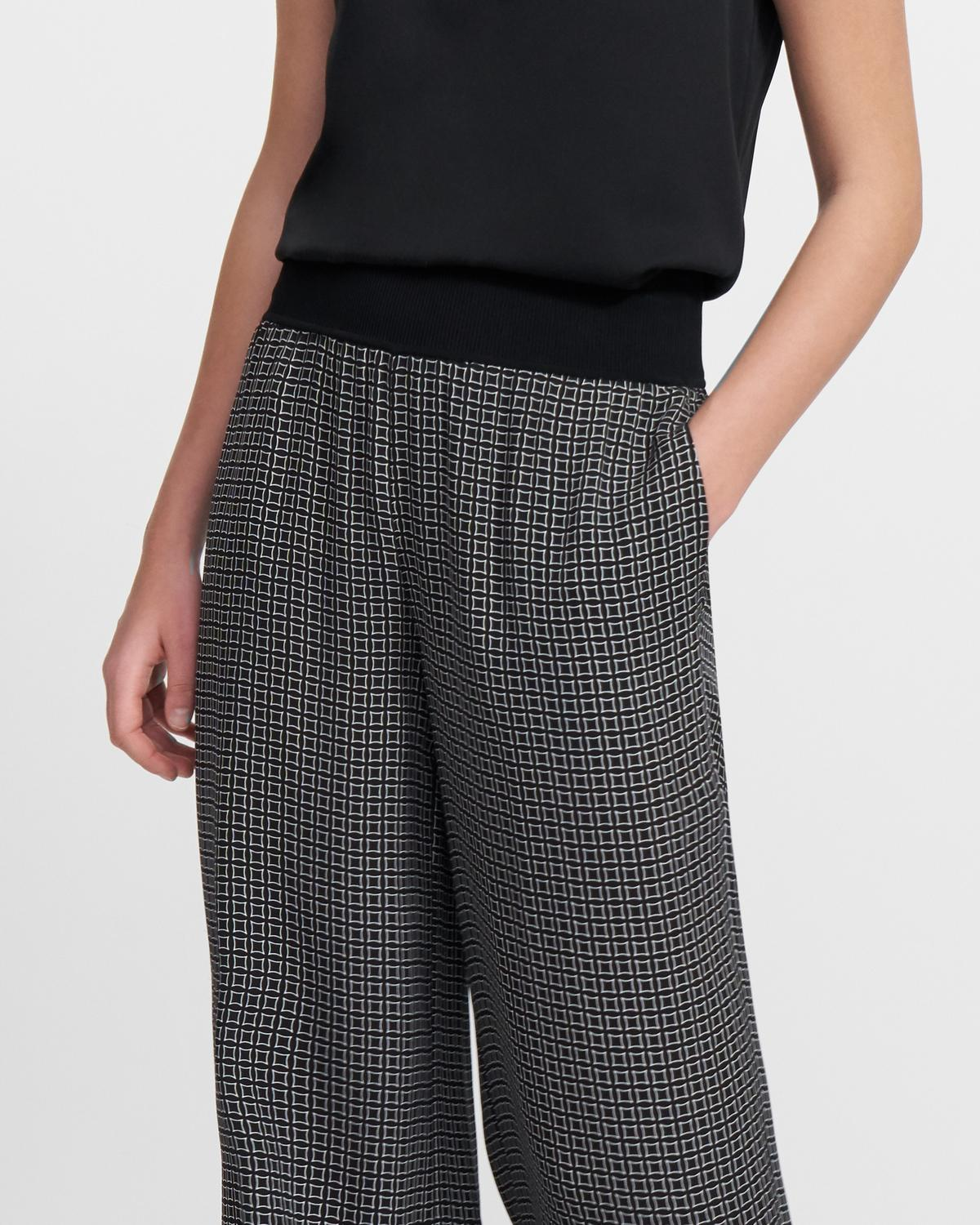Ribbed Waist Wide Pant in Diamond Print Silk
