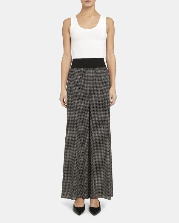 띠어리 다이아몬드 패턴 와이드 팬츠 (100% 실크) Theory Ribbed Waist Wide Pant in Diamond Print Silk,BLACK MULTI