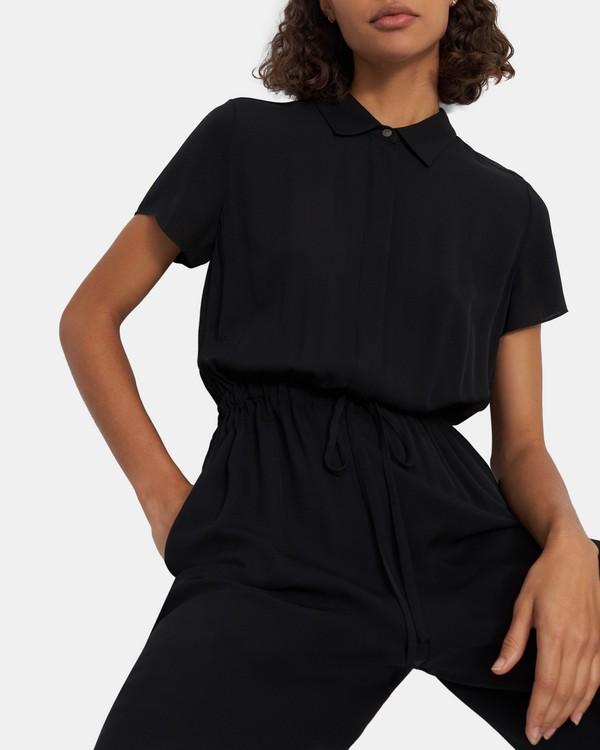띠어리 점프수트 Theory Workwear Jumpsuit in Silk,BLACK