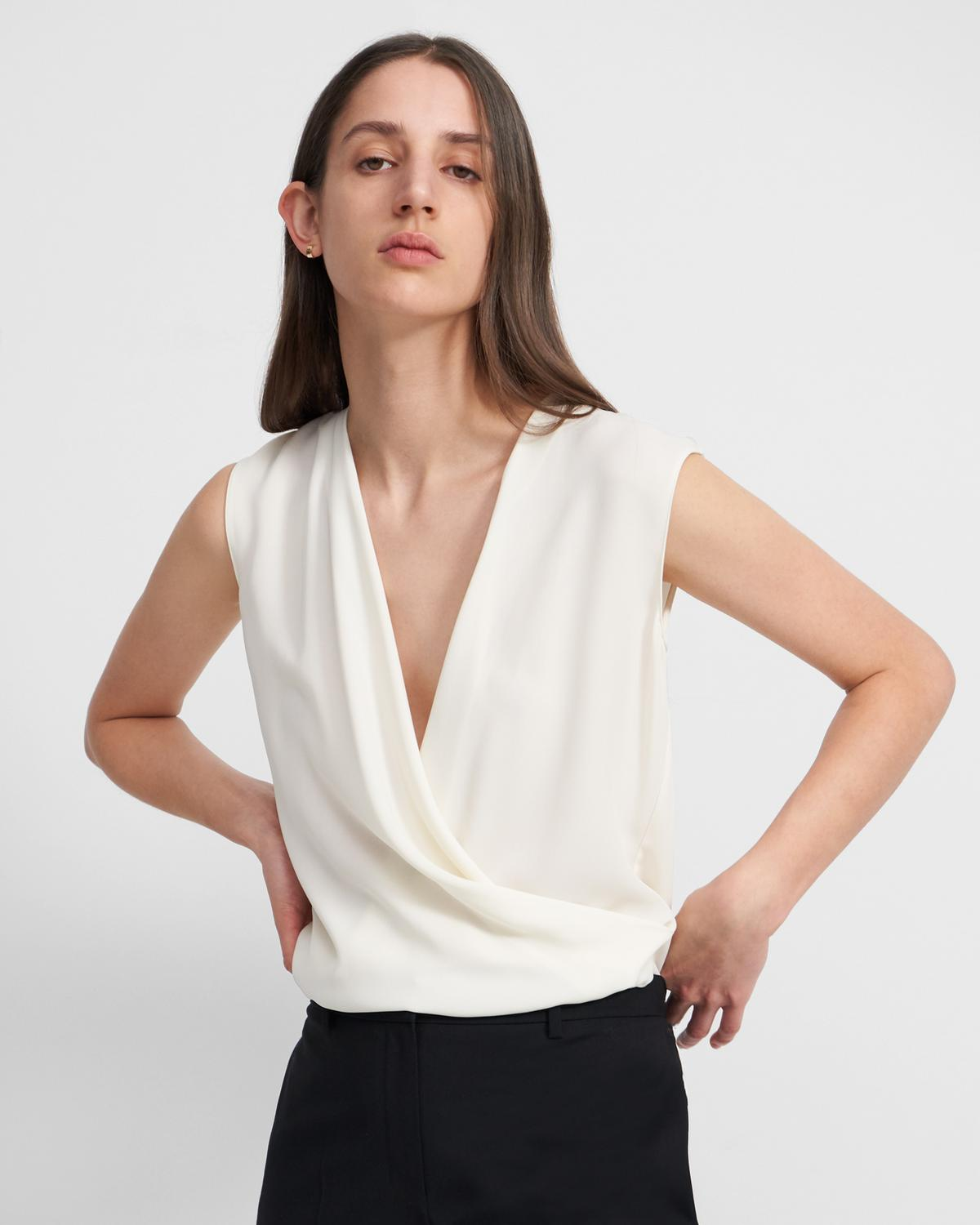Draped Shell Top in Silk