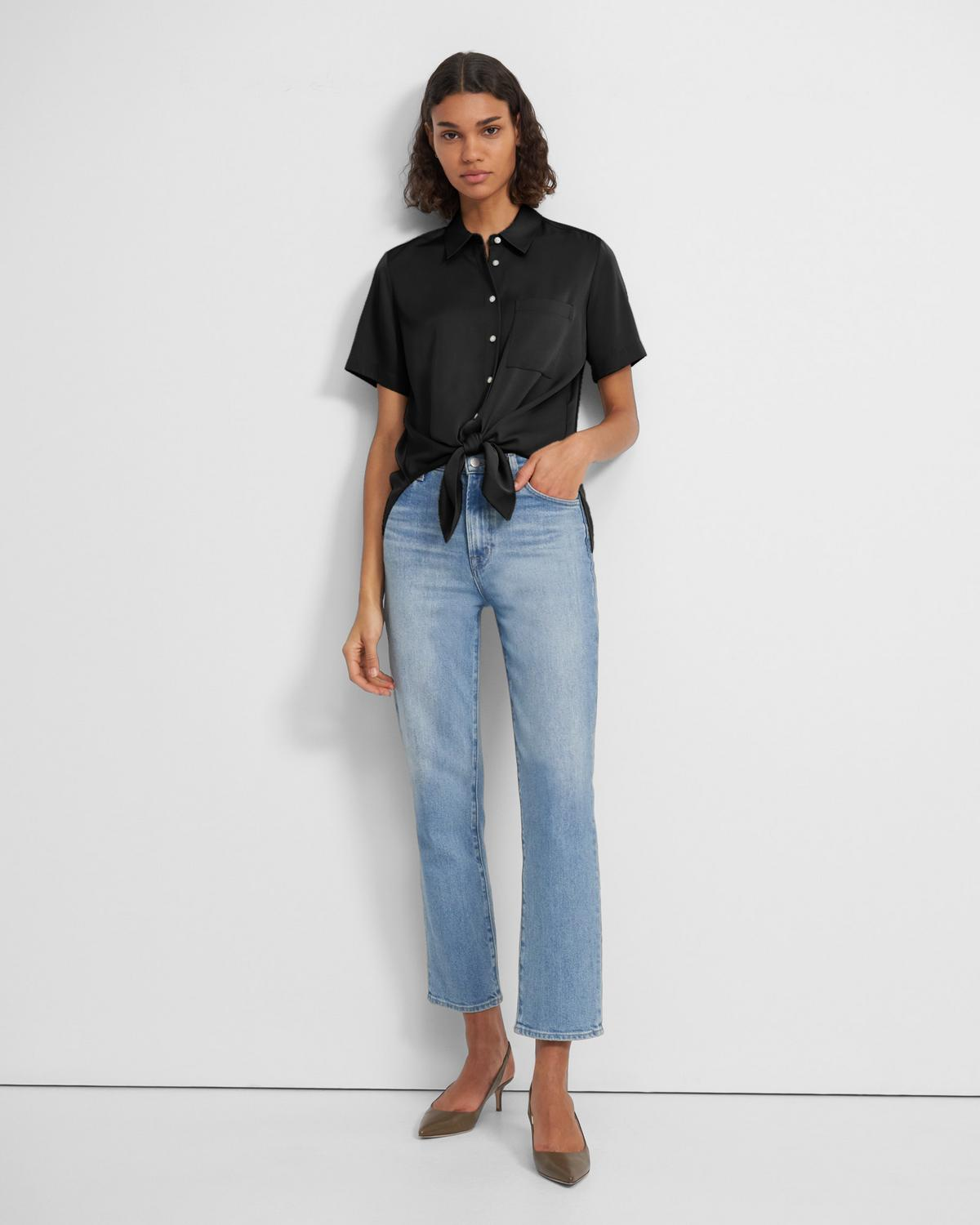 Tie Front Shirt in Stretch Silk