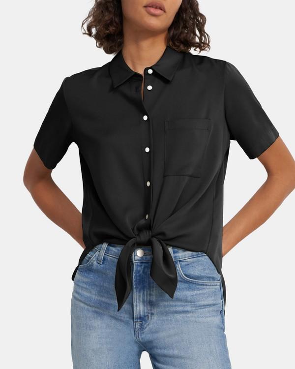 띠어리 타이 프론트 셔츠 - 블랙 Theory Tie Front Shirt in Stretch Silk K0202503