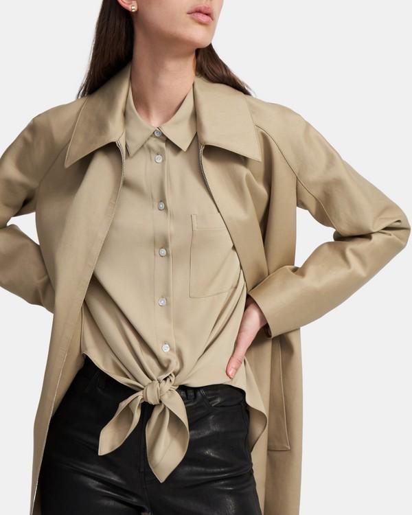 띠어리 타이 프론트 셔츠 - 토프 Theory Tie Front Shirt in Stretch Silk, K0202503