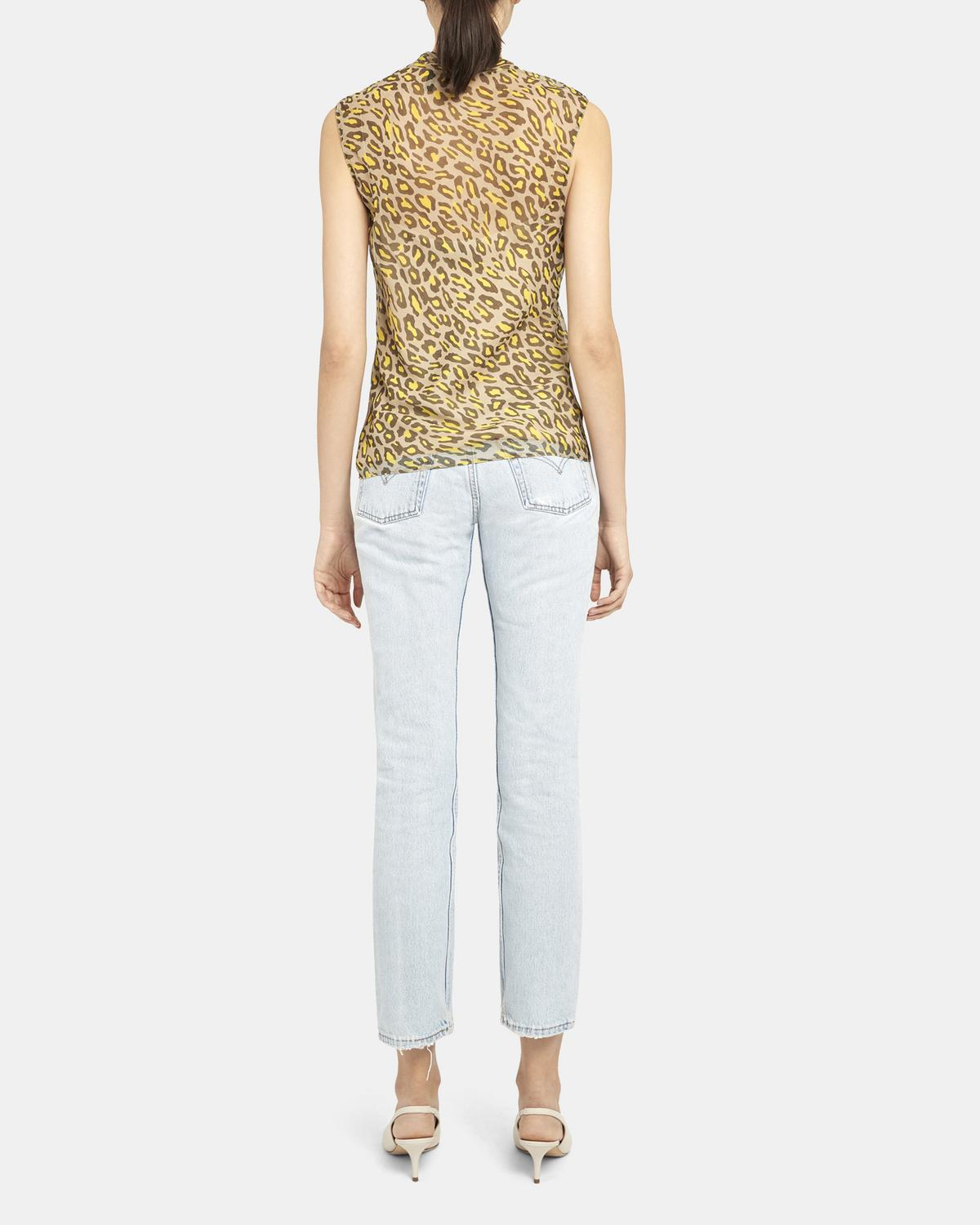 Tie Scarf Top in Leopard Silk Chiffon