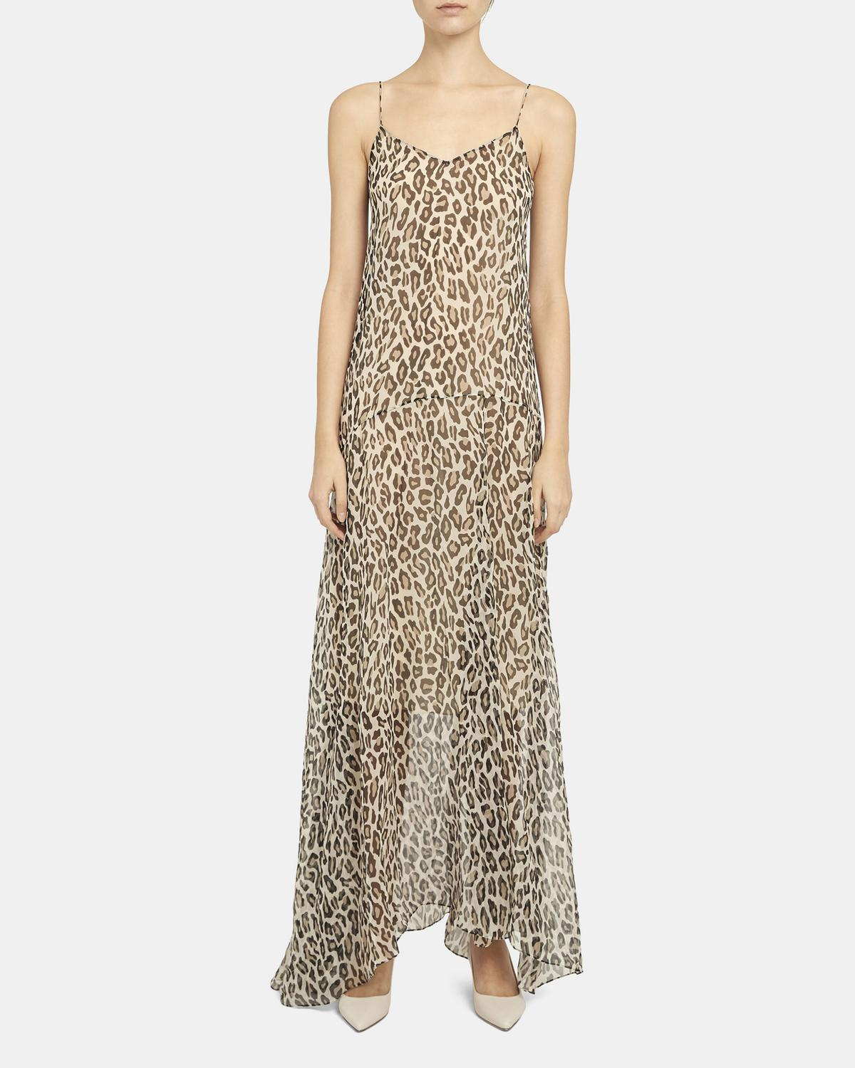 Asymmetric Cami Dress in Leopard Silk Chiffon