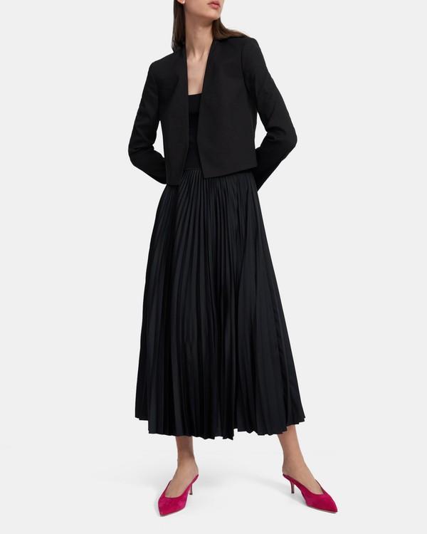 띠어리 '굿 린넨' 카라리스 셋업 자켓 Theory Collarless Blazer in Good Linen,BLACK K0203101