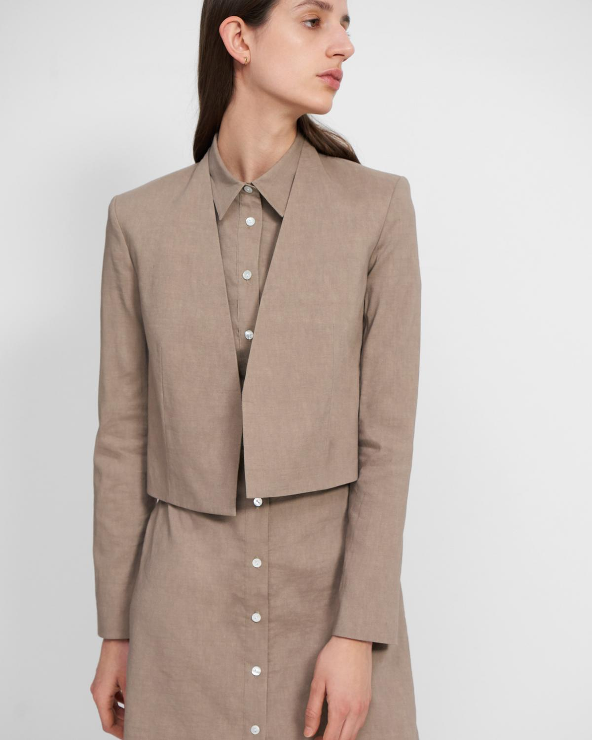 Collarless Blazer in Good Linen