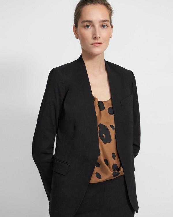 띠어리 스테이플 카라리스 자켓 - 블랙 (굿 린넨) Theory Staple Collarless Blazer in Good Linen K0203102