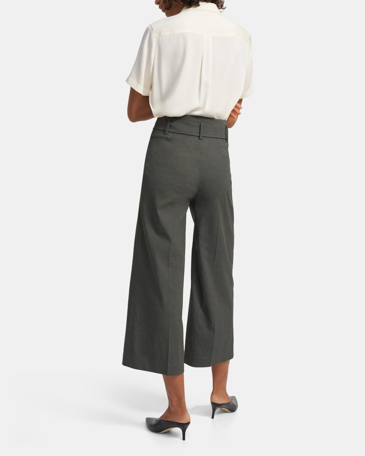 Belted Cropped Pant in Good Linen