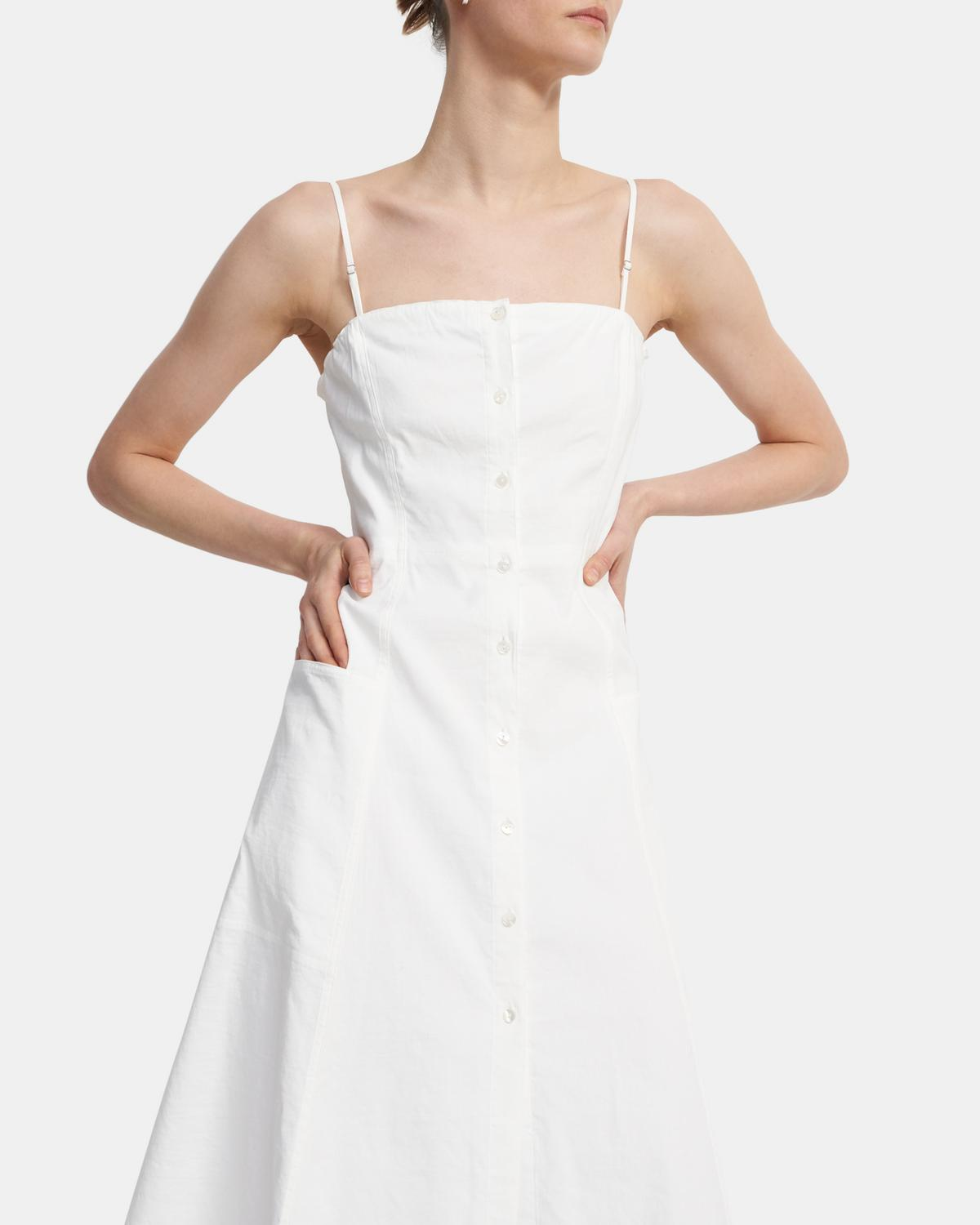 Button Front Dress in Good Linen