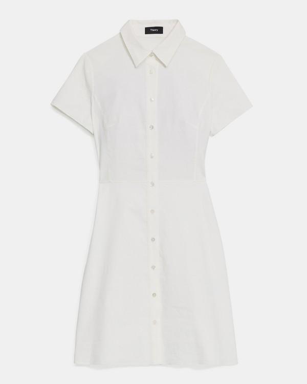 띠어리 셔츠원피스 - 화이트 (굿 린넨) Theory Shirtdress in Good Linen, K0203606