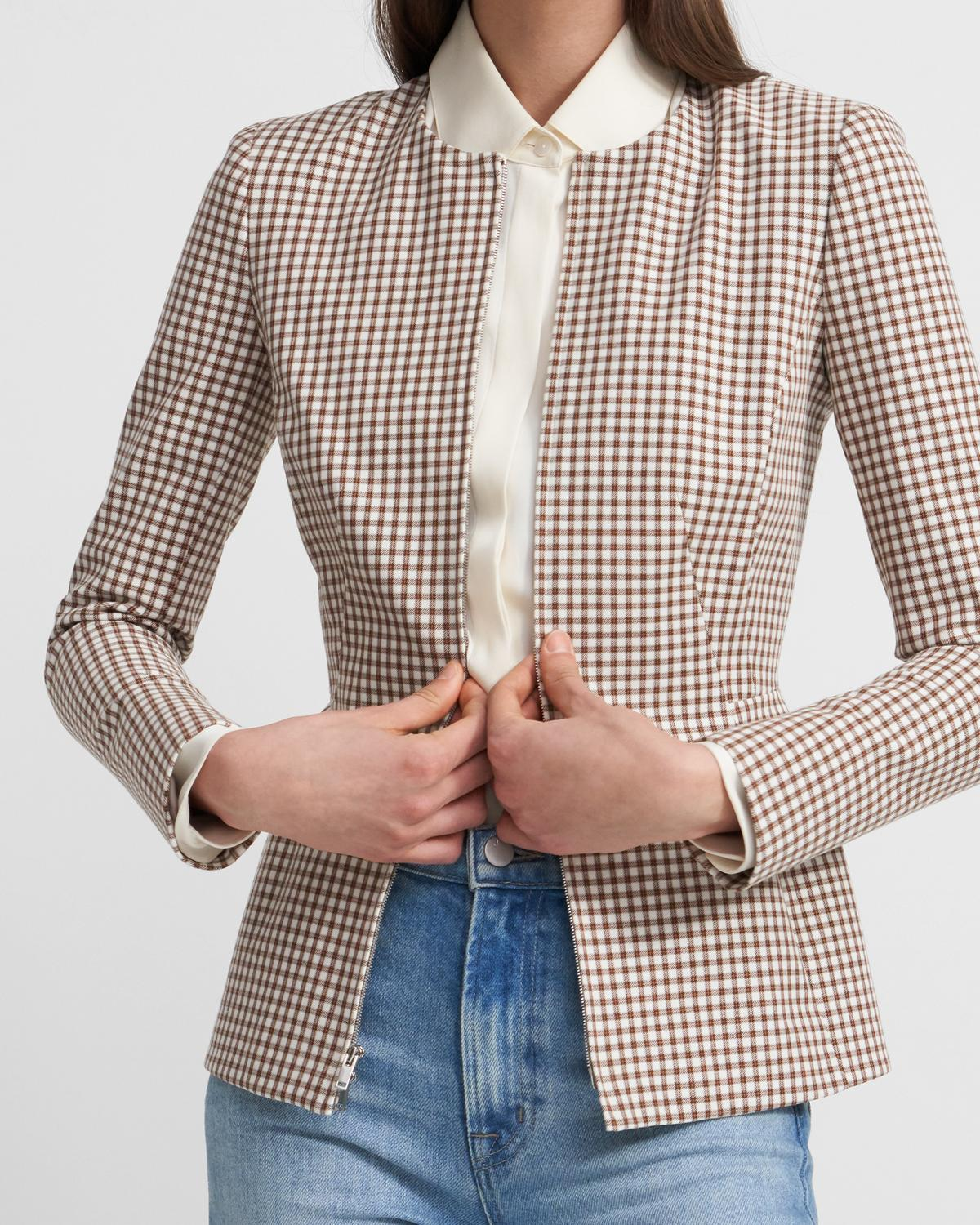 Sculpture Blazer in Grid Stretch Cotton 0 - click to view larger image