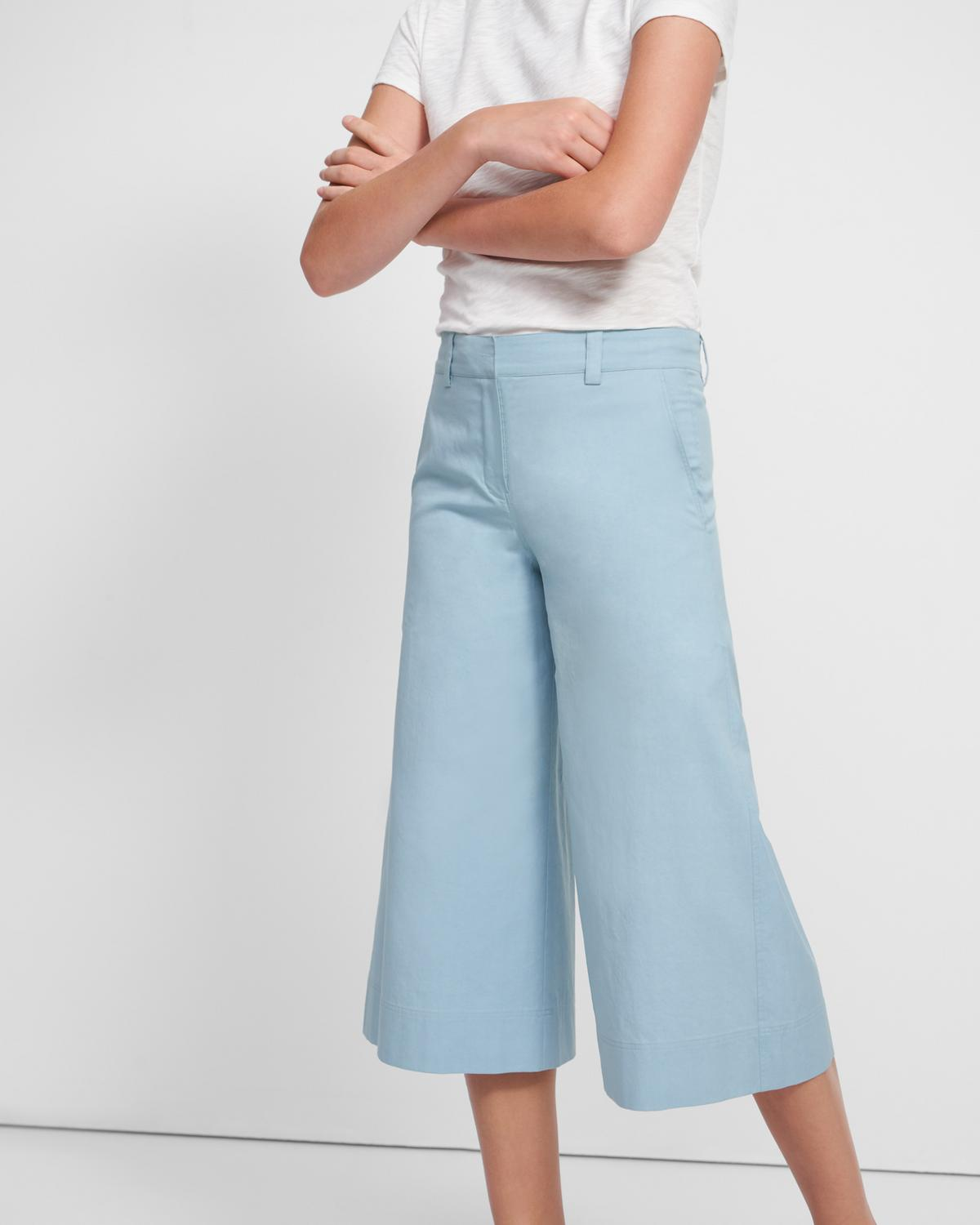 Wide Cropped Trouser in Cotton-Silk