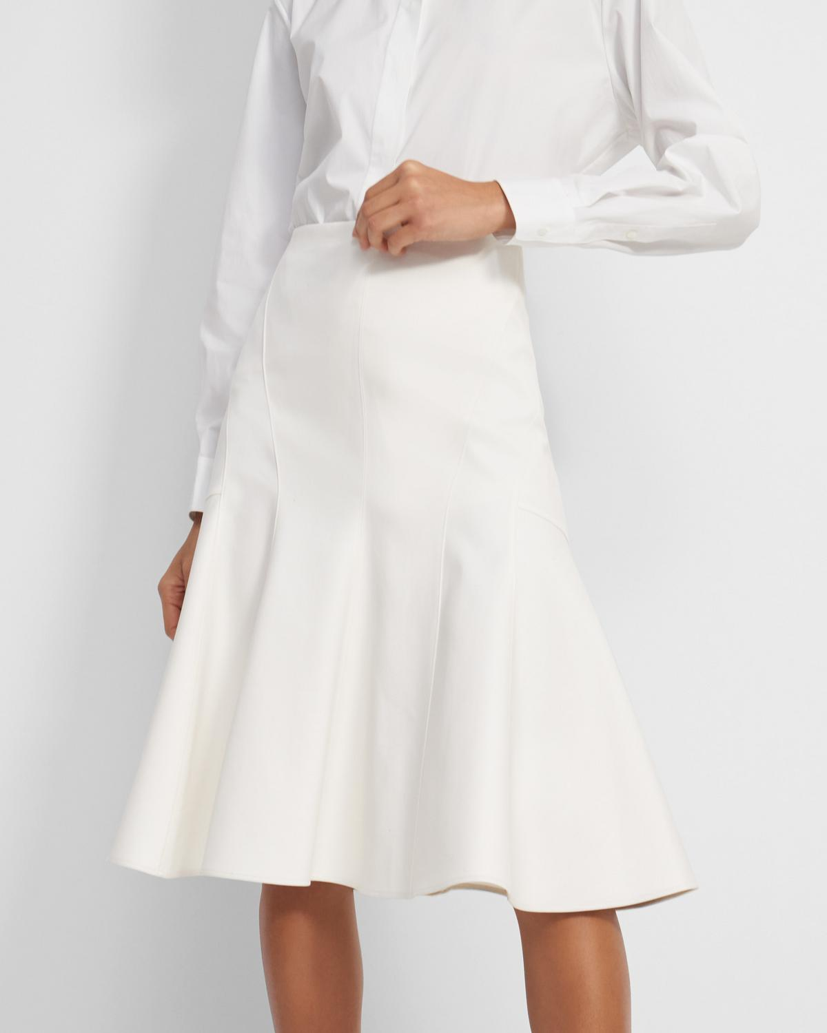Seamed Midi Skirt in Double Cotton