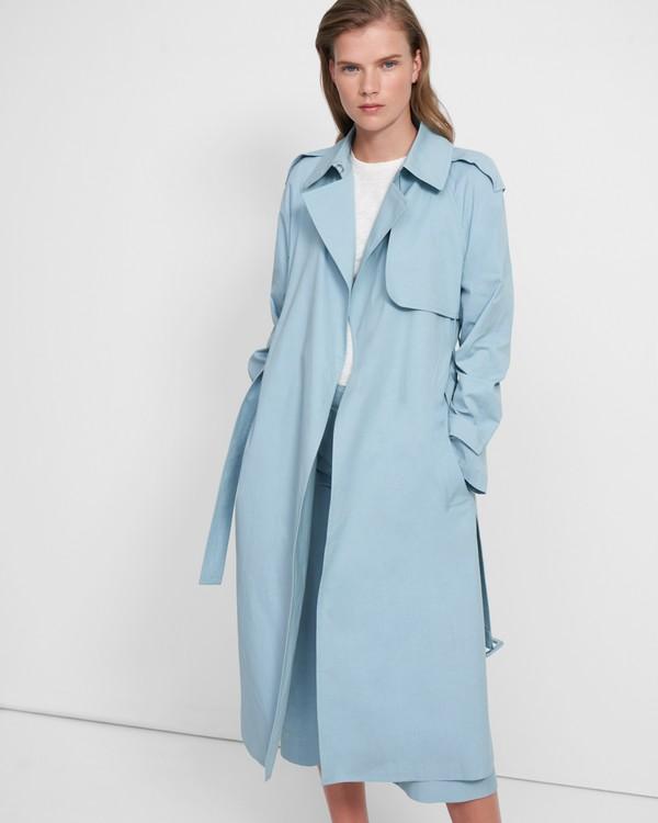 띠어리 트렌치 코트 Theory Essential Trench Coat in Cotton-Silk,SKY
