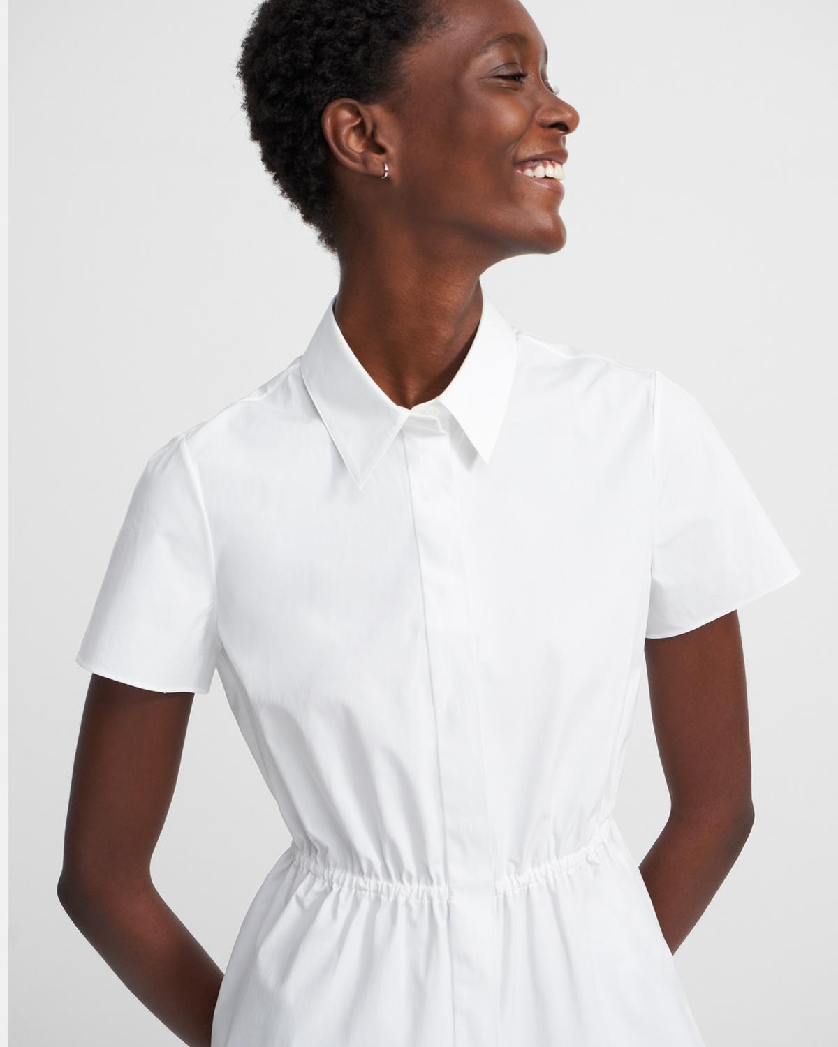 Cinched Short-Sleeve Shirt in Stretch Cotton