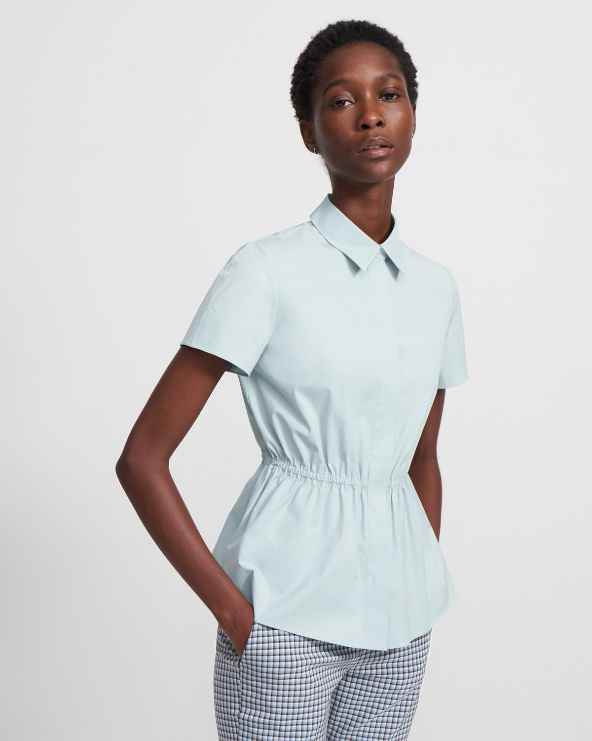 Cinched Short-Sleeve Shirt in Stretch Cotton 0 - click to view larger image