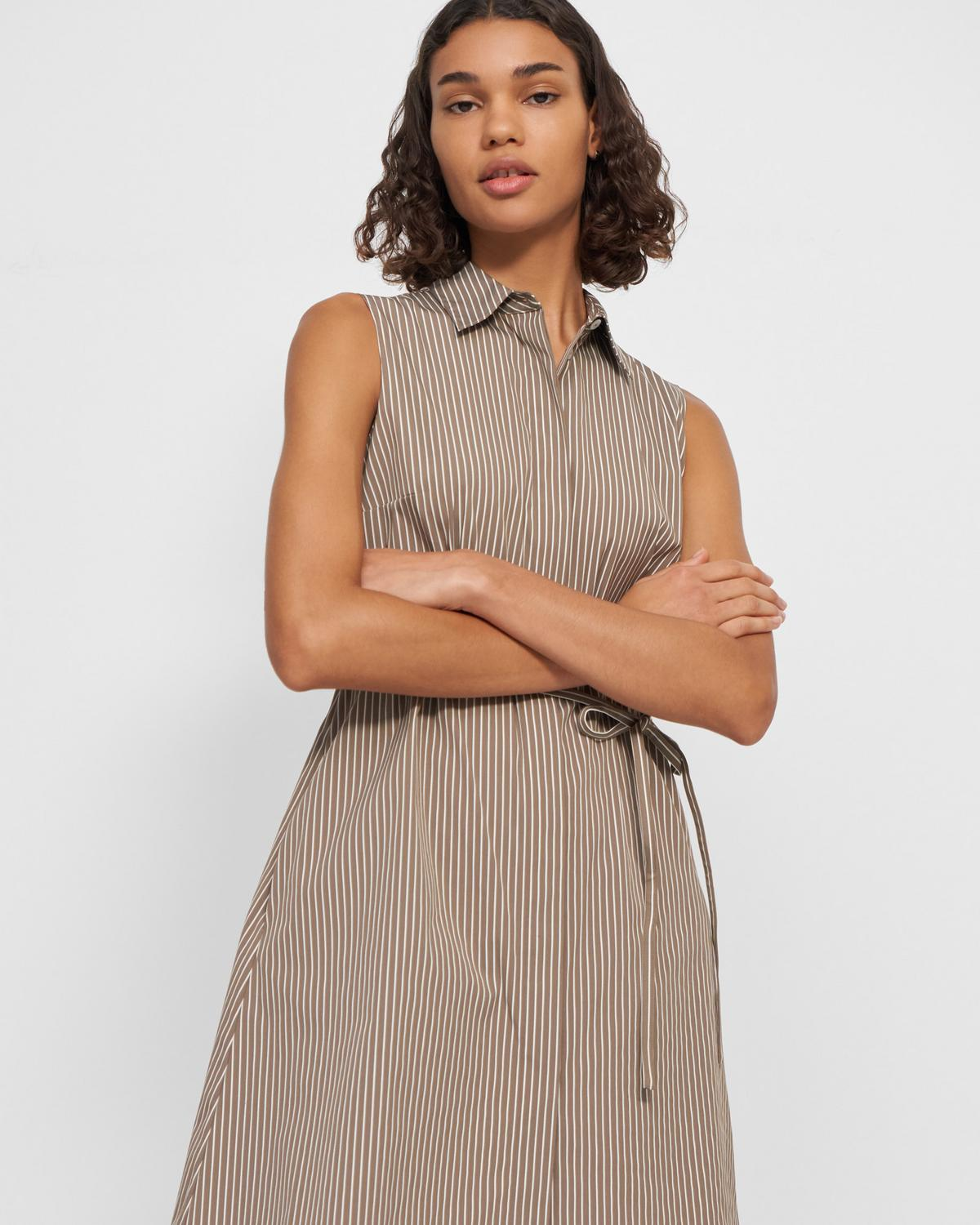 Sleeveless Belted Shirtdress in Pinstripe Poplin