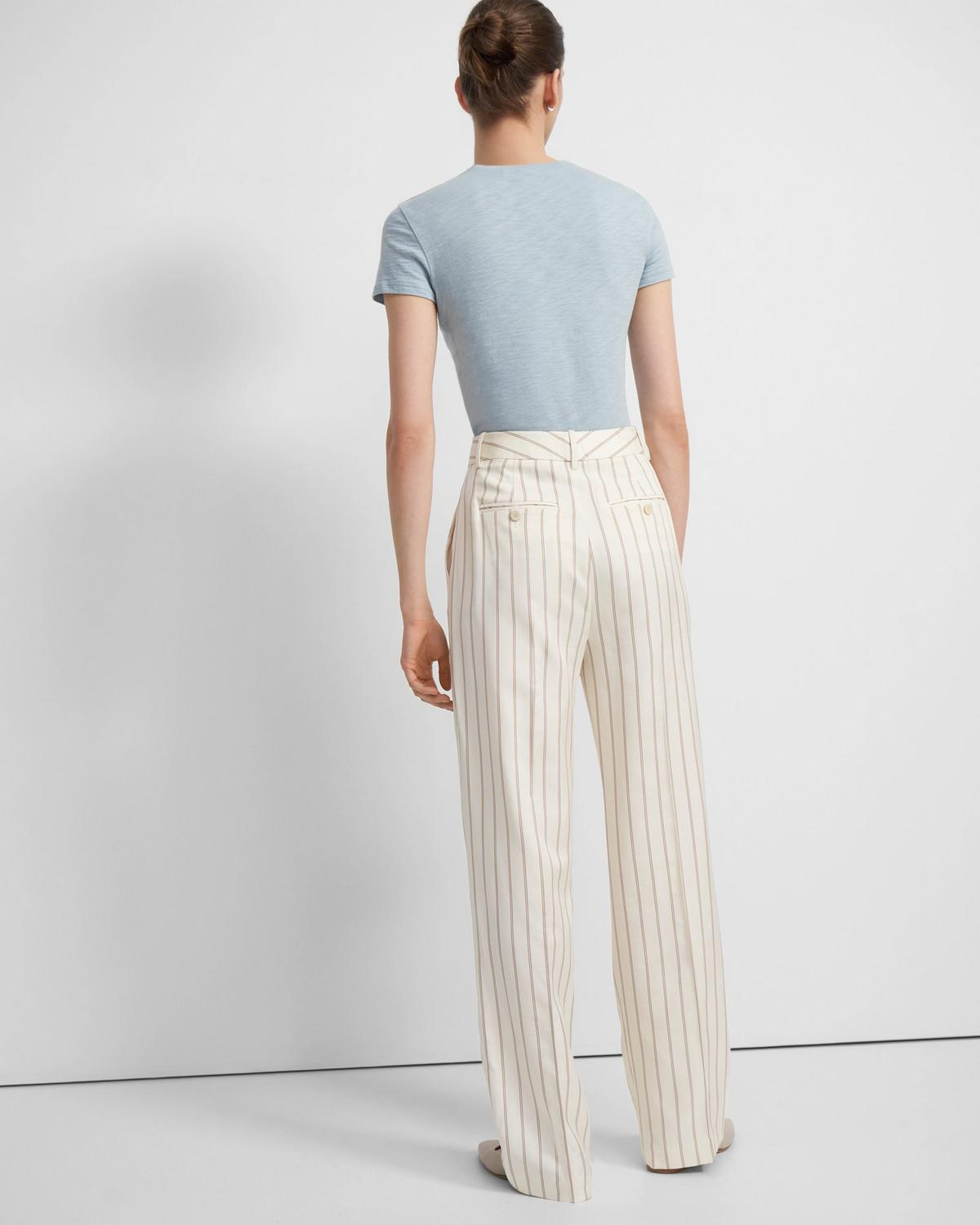 Pleated Trouser in Pajama Stripe Viscose-Cotton