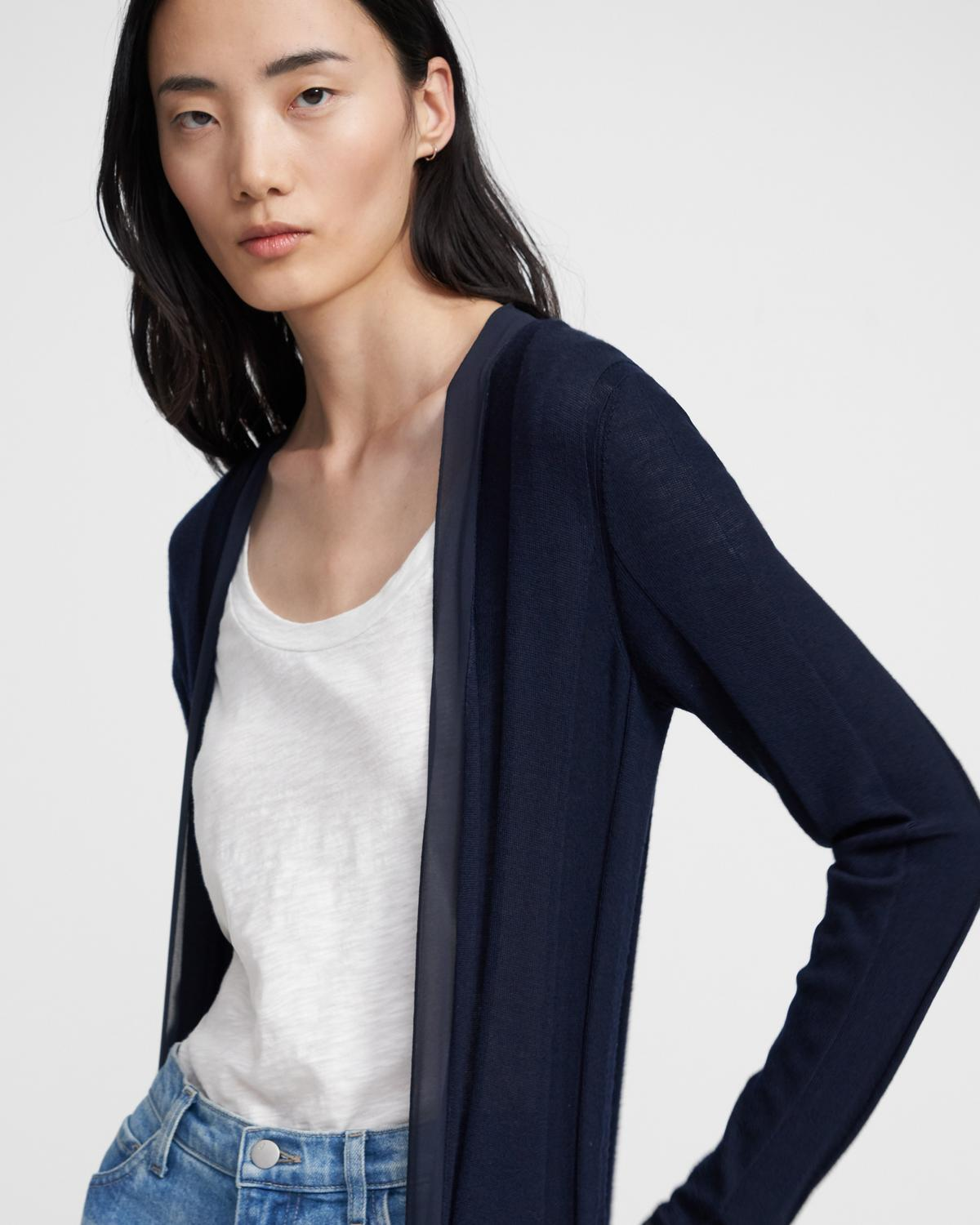 Long Cardigan in Viscose-Wool