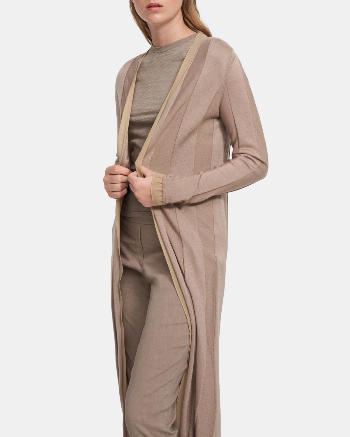 Long Cardigan in Viscose-Wool 0 - click to view larger image