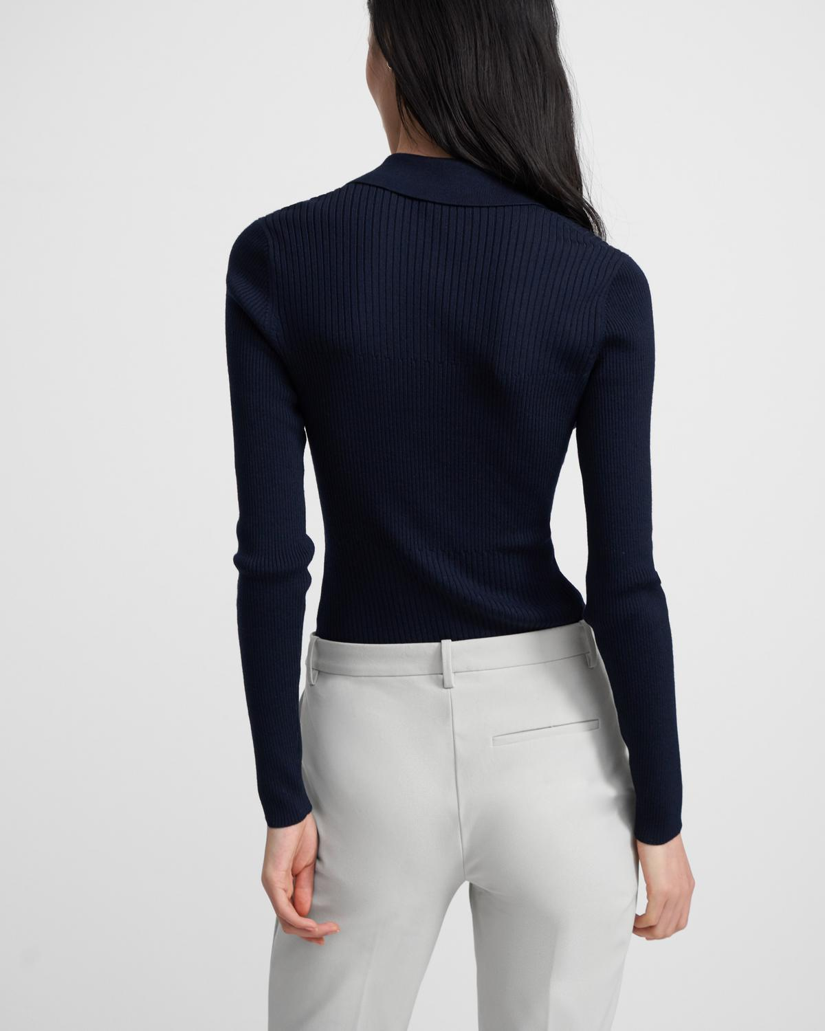 Ribbed Polo Sweater in Stretch Viscose-Wool