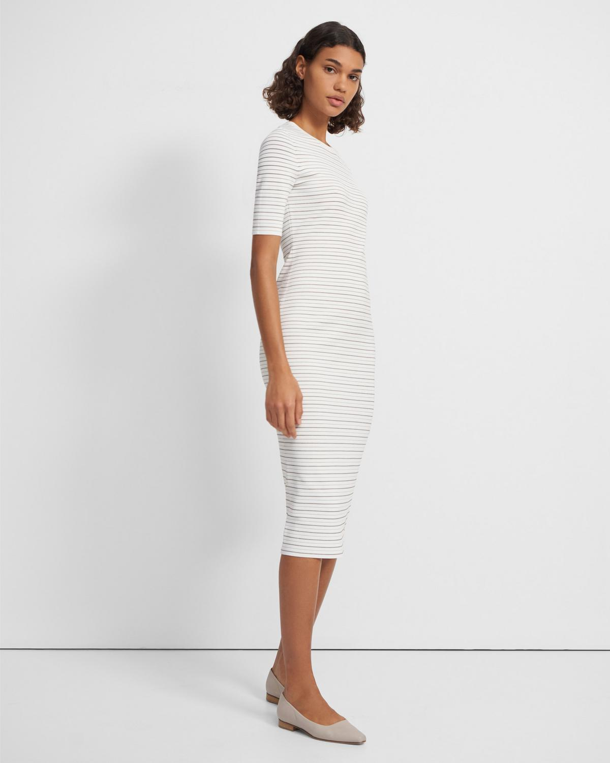 Ribbed Midi Dress in Striped Stretch Knit