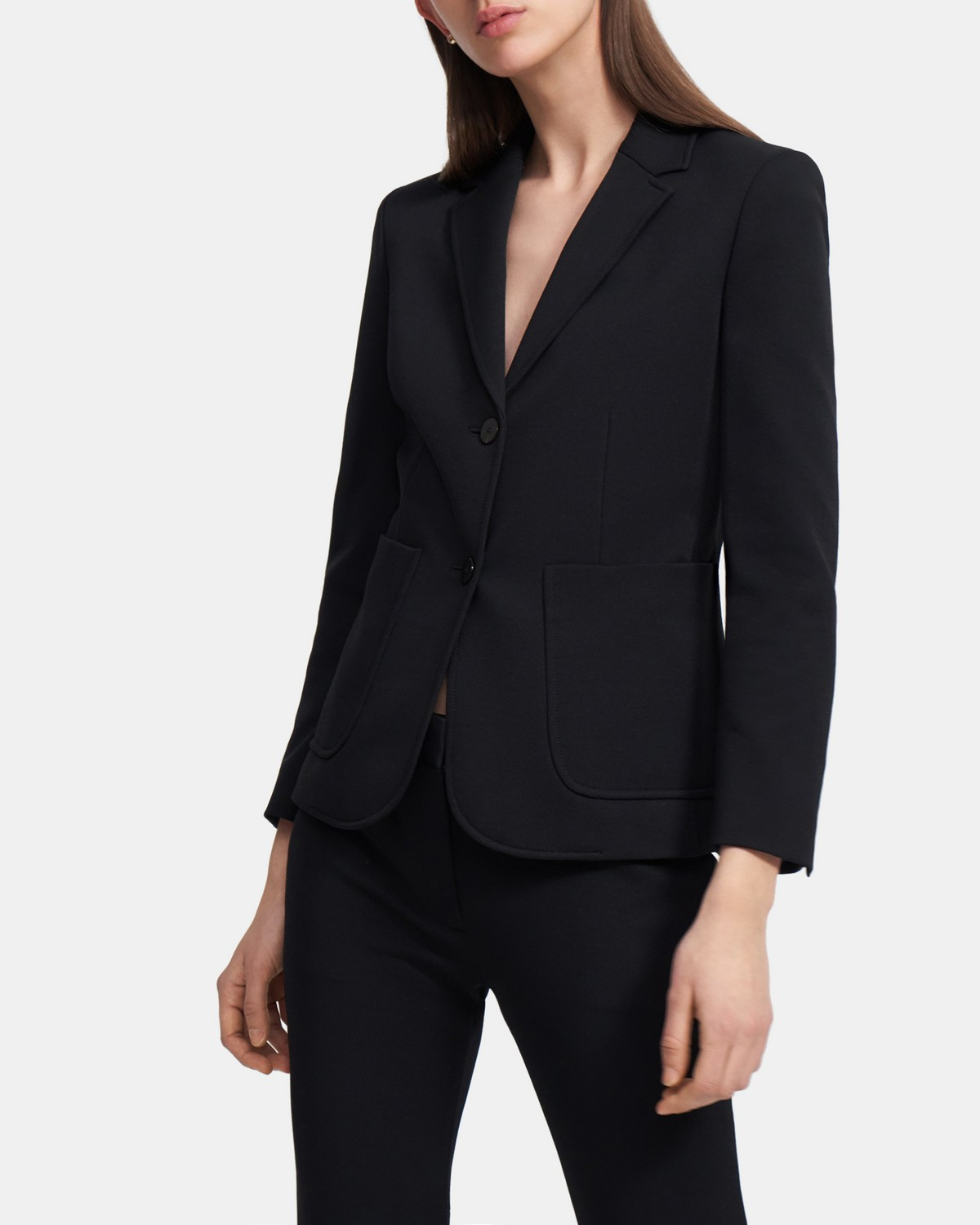 Shrunken Blazer in Piqué Cotton