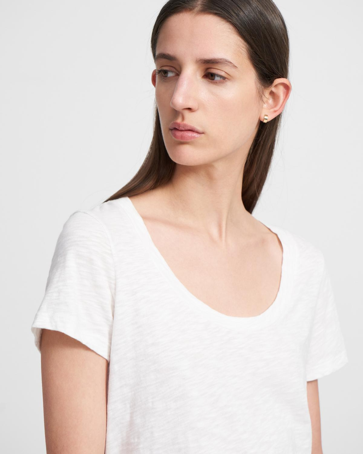 Open Neck Tee in Organic Cotton