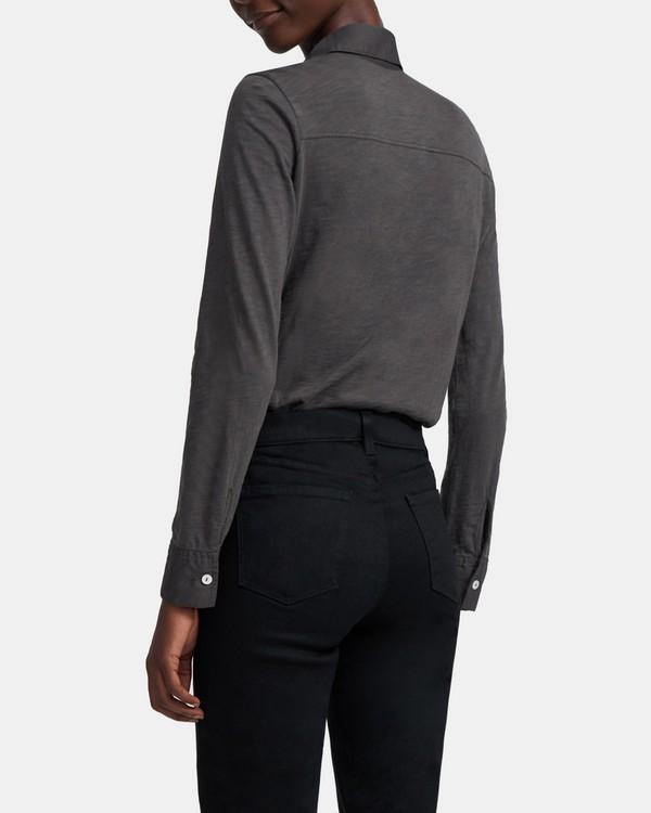 띠어리 오가닉 코튼 셔츠 - 애쉬 그레이 Theory Button Up Shirt in Organic Cotton, K0224514