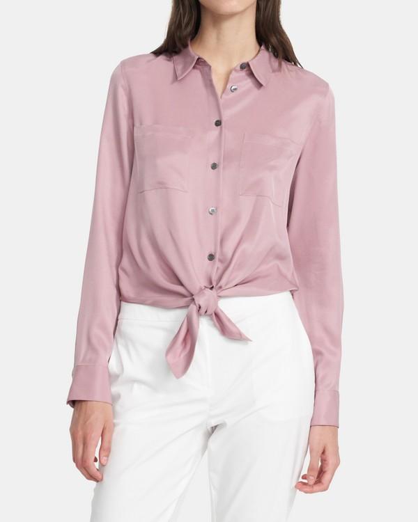 띠어리 타이 프론트 셔츠, 실크 Theory Tie Front Shirt in Silk,DUSTY LILAC