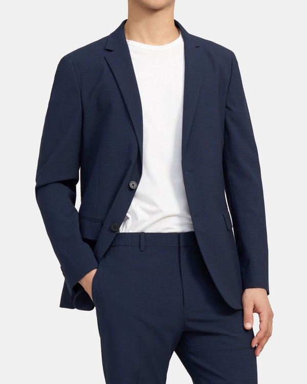 Clinton Blazer In Seersucker Stretch Cotton