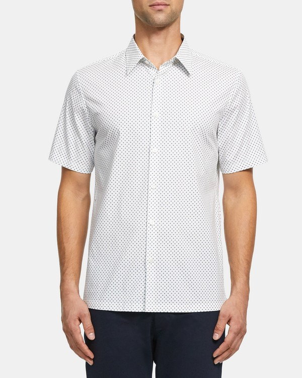 Standard-Fit Short-Sleeve Shirt in Printed Stretch Cotton