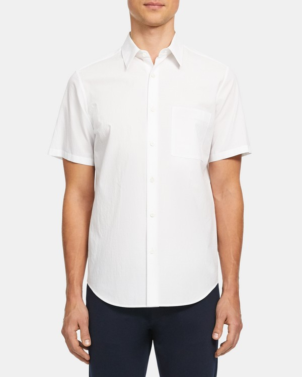 띠어리 맨 반팔 셔츠 Theory Irving Short-Sleeve Shirt in Grid Cotton,WHITE