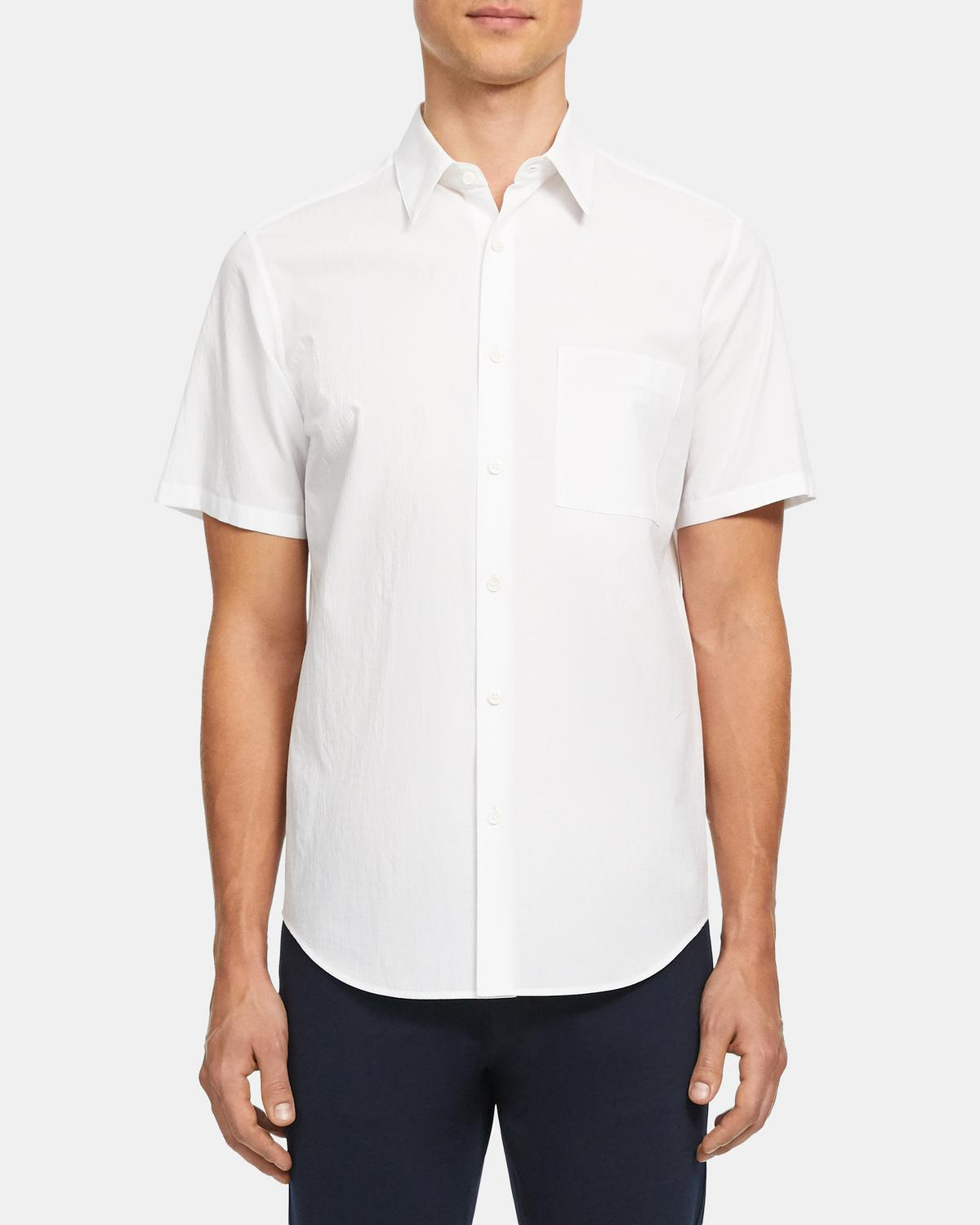 Irving Short-Sleeve Shirt in Grid Cotton